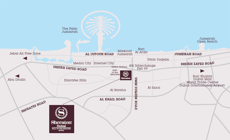 Jd sheraton dubai mall of the emirates hotel location map locationmap gumiabroncs Image collections